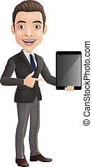tenue, dessin animé, jeune, heureux, homme affaires, tablette