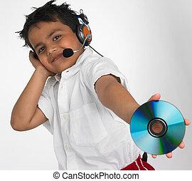 tenue, disque compact, garçon, asiatique