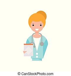 tenue, docteur, caractère, illustration, presse-papiers, femme, vecteur, stéthoscope, fond, manteau, girl, blanc