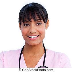 tenue, docteur, charmer, stéthoscope, femme, portrait
