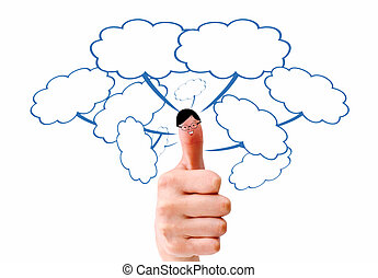 tenue, doigt, social, réseau, signe, heureux, smileys