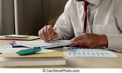 tenue, données, financier, paper., bureau, mains, gros plan...