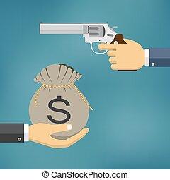 tenue, donner, argent., main, autre, pistolet