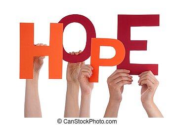 tenue, espoir, mains