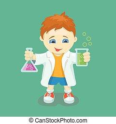 tenue, essai, gosse, experiment., scientist., hands., garçon, chimique, flacon, jeune