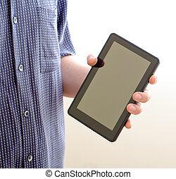 tenue, et, toucher, sur, tablette, pc.