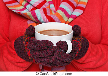 tenue femme, a, grande tasse, de, chocolat chaud