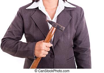 tenue, femme affaires, isolé, fond, thaï, marteau, blanc