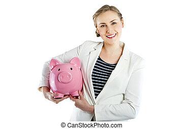 tenue femme, banque, porcin