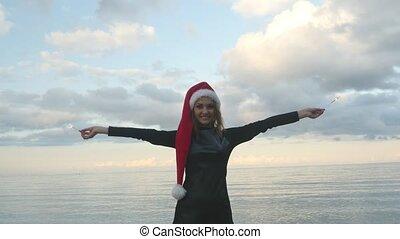 tenue femme, chapeau, sparklers, santa, jeune