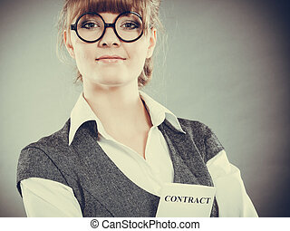 tenue, femme, contrat, business, main