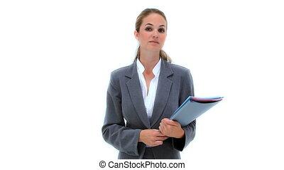 tenue, femme, documents, sérieux