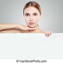 tenue femme, espace, copie, jeune, comité papier, fond, blanc, joli, vide