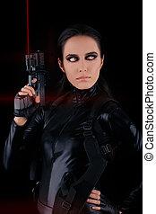 tenue femme, espion, fusil laser