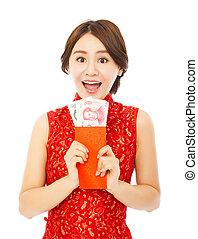 tenue femme, heureux, nouveau, envelope., chinois, rouges, année