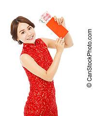 tenue femme, heureux, nouveau, enveloppe, chinois, rouges, asiatique, année