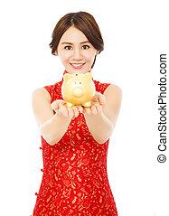 tenue femme, porcin, heureux, nouveau, doré, chinois, banque, année