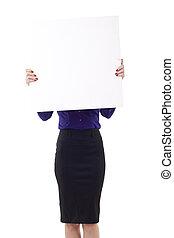tenue femme, signe, business, vide