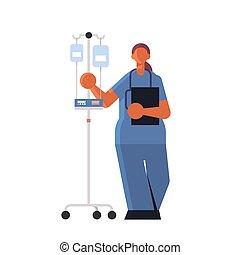 tenue, femme, uniforme, plat, fond, ouvrier, hôpital, clinique, stéthoscope, entiers, médecine, blanc, docteur, anesthésiste, healthcare, monde médical, longueur, compte-gouttes, concept