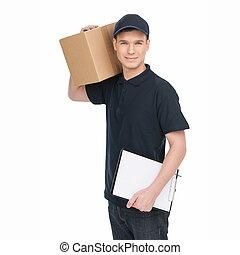 tenue, gai, work., isolé, quoique, blanc, boîte, deliveryman, carton, presse-papiers, jeune