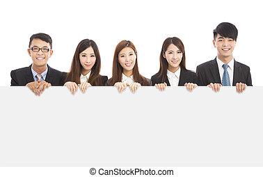 tenue, gens, planche, business, jeune, asiatique, blanc