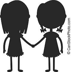 tenue, girl, heureux, garçon, jumeaux, mains, illustration...