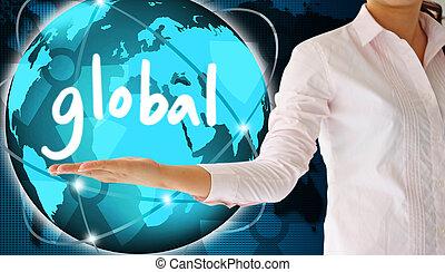 tenue, global, dans, sien, main, créatif, concept