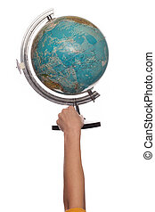 tenue, globe, haut, main femelle