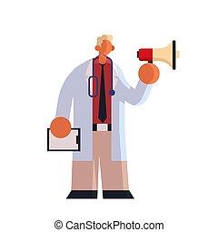 tenue, haut-parleur, patient, annonce, carte, plat, debout, fond, ouvrier, hôpital, clinique, pose, entiers, confection, manteau, médecine, blanc, docteur, healthcare, monde médical, mâle, longueur, concept