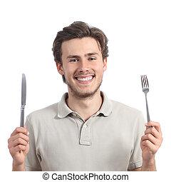 tenue, heureux, couteau, jeune homme, fourchette