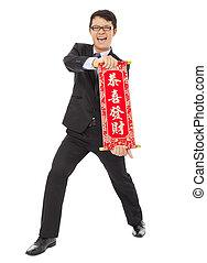 tenue, homme affaires, reel., jeune, félicitations, asiatique