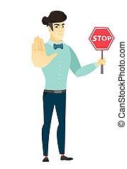 tenue, homme affaires, signe., asiatique, route, arrêt
