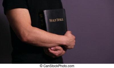 tenue, homme, bible, sien, fin, saint