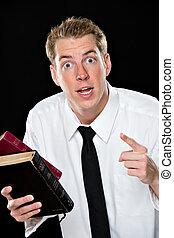 tenue, homme, jeune, pointage, bibles