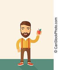 tenue, homme, rouges, heureux, apple.