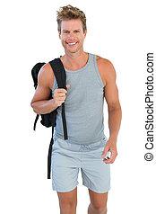tenue, homme, vêtements de sport, rucksack