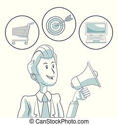 tenue, icônes, couleur, commercialisation, fond, numérique, homme affaires, blanc, porte voix, sections, bulles