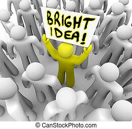 tenue, idée, signe, personne, clair, plan, suggestion, nouveau