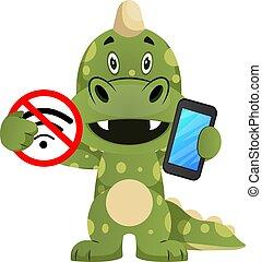 tenue, illustration, mobile, non, dragon, sans fil, arrière-plan., vecteur, vert, téléphone, blanc, signe