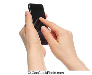 tenue, isolé, téléphone, fond, mains, blanc, intelligent