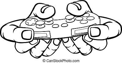 tenue, jeu vidéo, main, gamer, contrôleur, jeu