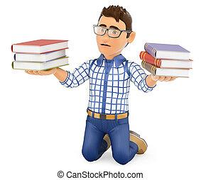tenue, jeune, livres, puni, étudiant, 3d