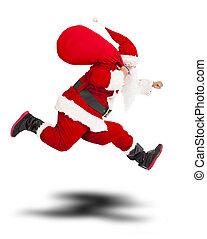 tenue, joyeux, claus, santa, sac, noël don, running.