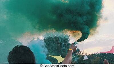 tenue, lent, éclats (flares), coloré, fumée, sky., contre, ...