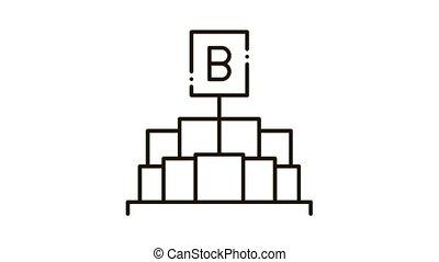 tenue, lettre, beurre, signe, icône, morceaux, b, animation