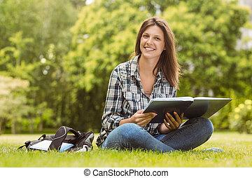 tenue, livre, sourire, étudiant, séance