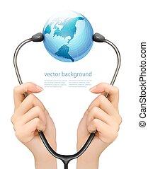 tenue, monde médical, fond, stéthoscope, vector., mains, globe.