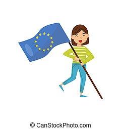 tenue, national, union, illustration, élément, drapeau, vecteur, conception, indépendance, fond, jour, blanc, girl, jour, européen