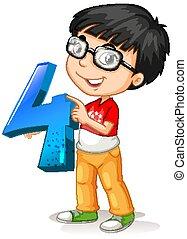 tenue, nerdy, quatre, nombre, portant lunettes, math, garçon