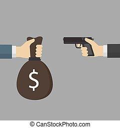 tenue, offrande, argent, vol, sac main, autre, pistolet